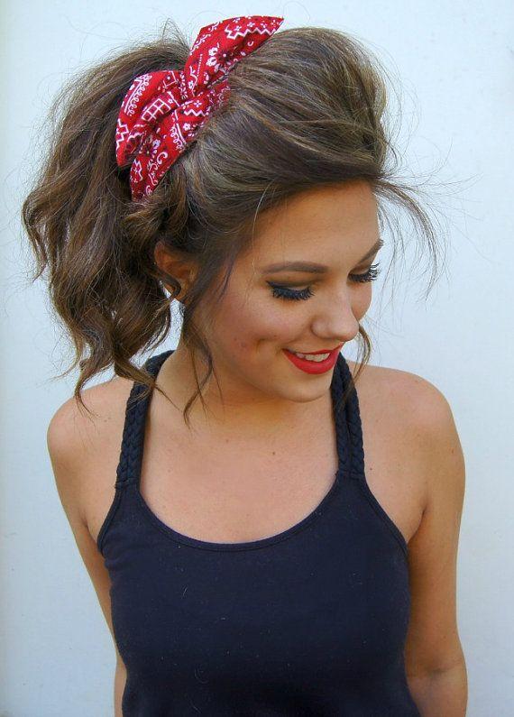 Rockabilly Headband Wired Dolly Bow Bandana Pin Up Hair Frisuren
