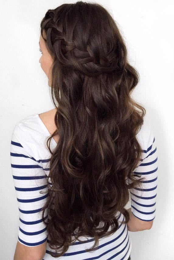 Long voluminous effortless waves paired with the perfect looped side braid! Love this simple and easy look created by Laura on her Chocolate Brown Luxy Hair Extensions!   Photo by: https://instagram.com/forbeslaura/