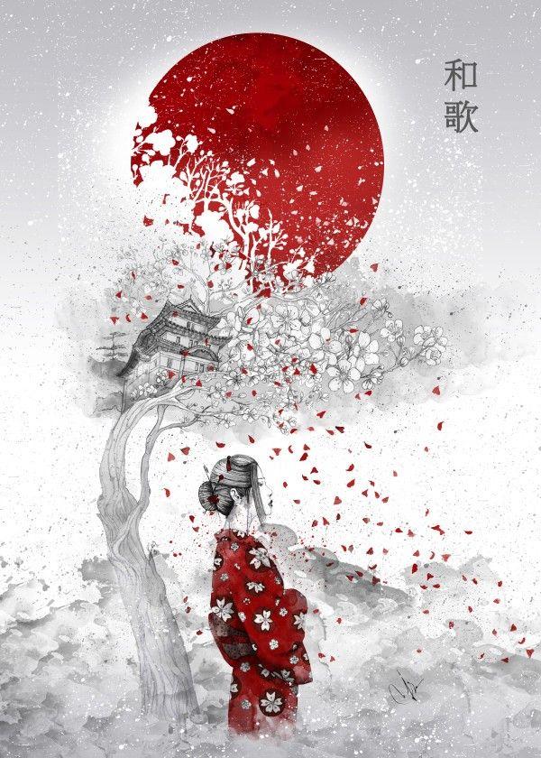 Japanese Poem #woman #japanese #tree #red #japan | Displate thumbnail