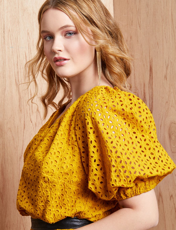 Puff Sleeve Eyelet Dress | Women\'s Plus Size Dresses ...