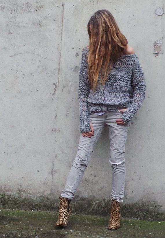 Gray sweater Chunky loose knit oversized grunge sweater, womens sweater, silver gray sweater