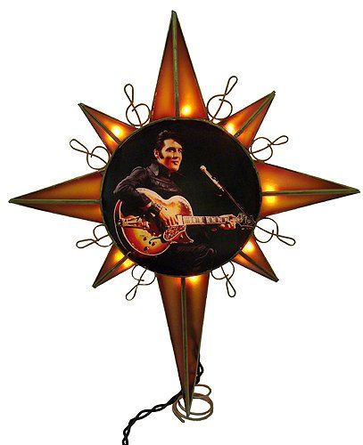 Elvis Christmas Tree TopperItem 10 steady burning clear lights that  illuminate the brown and gold Elvis tree topper. - Elvis Christmas Tree TopperItem #EP9901Features 10 Steady Burning