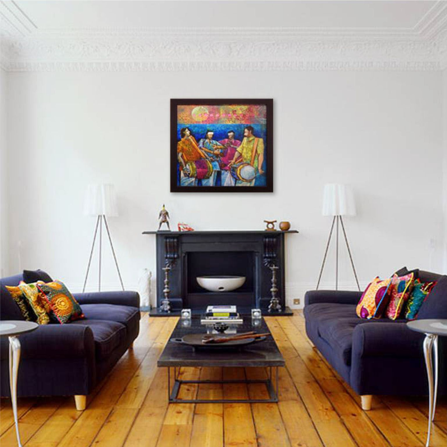 A white walled living room is a peaceful sight to the eye. Add a dash of color to the wall with a lovely abstract or contemporary painting! http://bit.ly/1Sai4BA #Art #Home #Decor #Colorful #IndianArt #ArtGallery #Painting