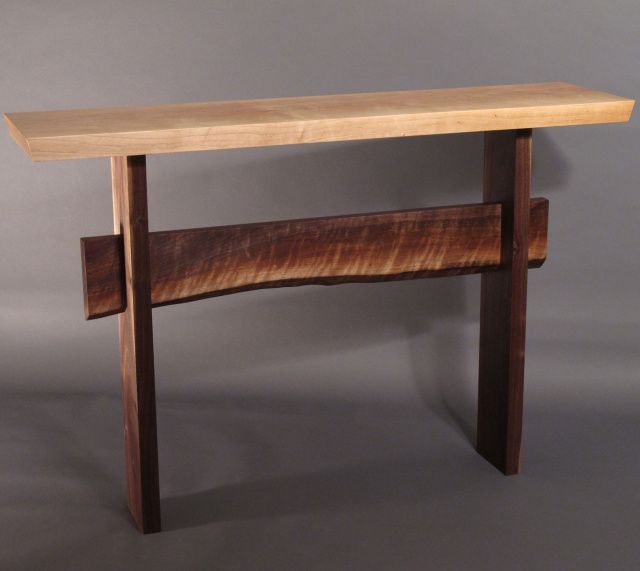 A Narrow Console Table With Live Edge Stretcher  Modern Wood Table For Your Hall  Table
