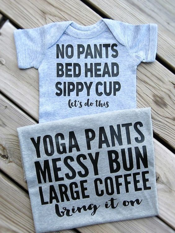 Mommy and Me Outfits, Yoga Pants Messy Bun large Coffee, No Pants Bed Head Sippy…
