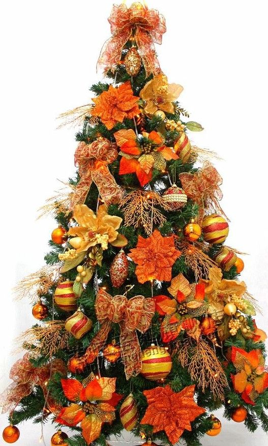 love the fall colors - Orange Coloured Christmas Tree Decorations