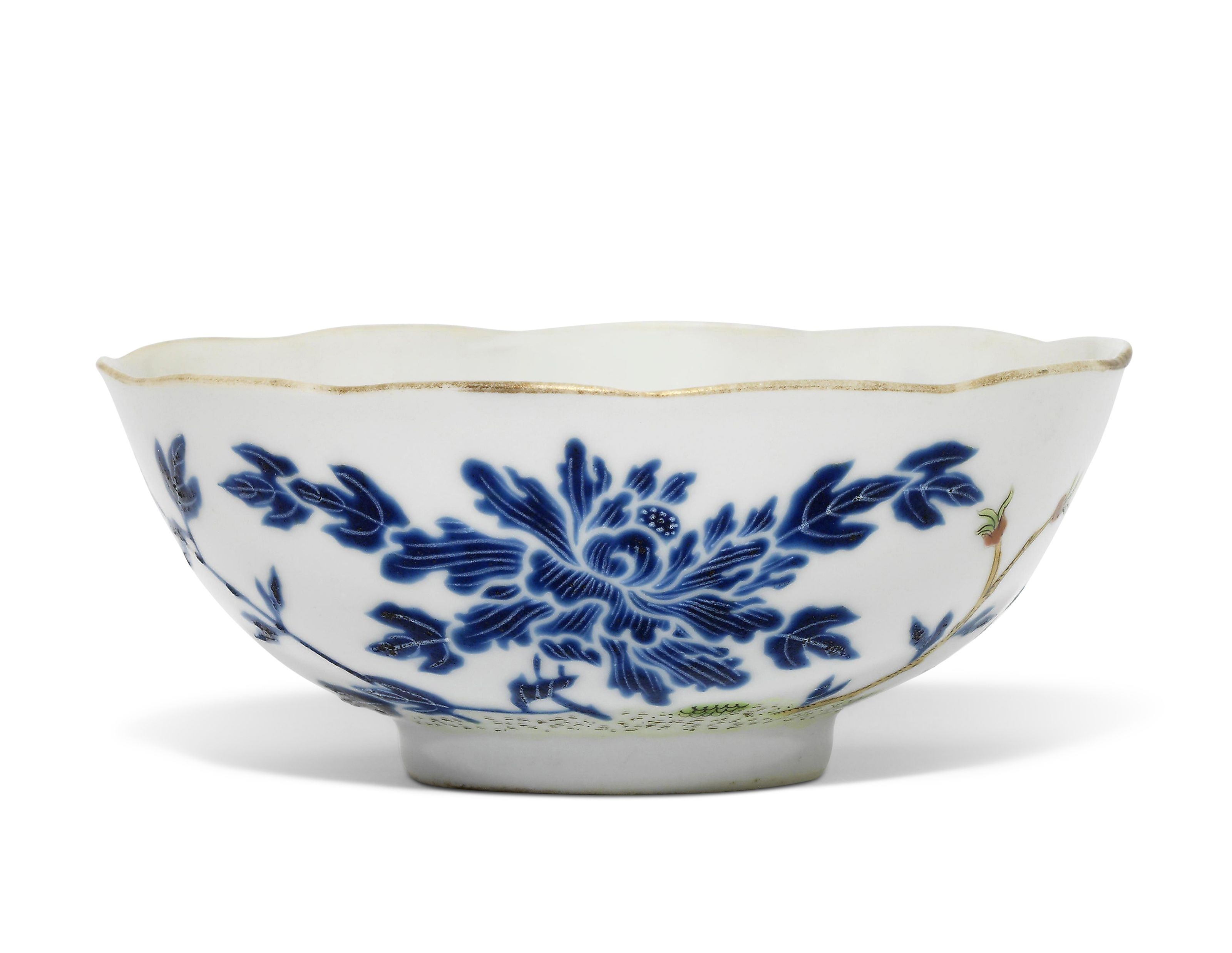 A Blue Enamelled Peony And Butterfly Bowl Decorative Bowls Blue Chinese Ceramics