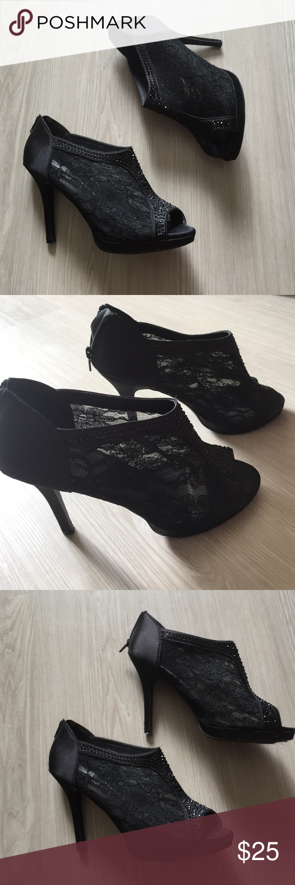 Daytrip Black Lace Heel Version 2 These are just like the previous ones I listed, but the design is different! I bought them both in size 10 thinking they'd fit alright, but they're sort of loose. Like new! Daytrip Shoes Heels