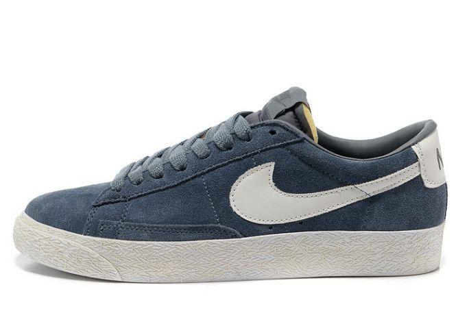 Nike Blazer Basse Homme Premium Vintage Daim Gris Blanc  http://www.shopnikeblazer