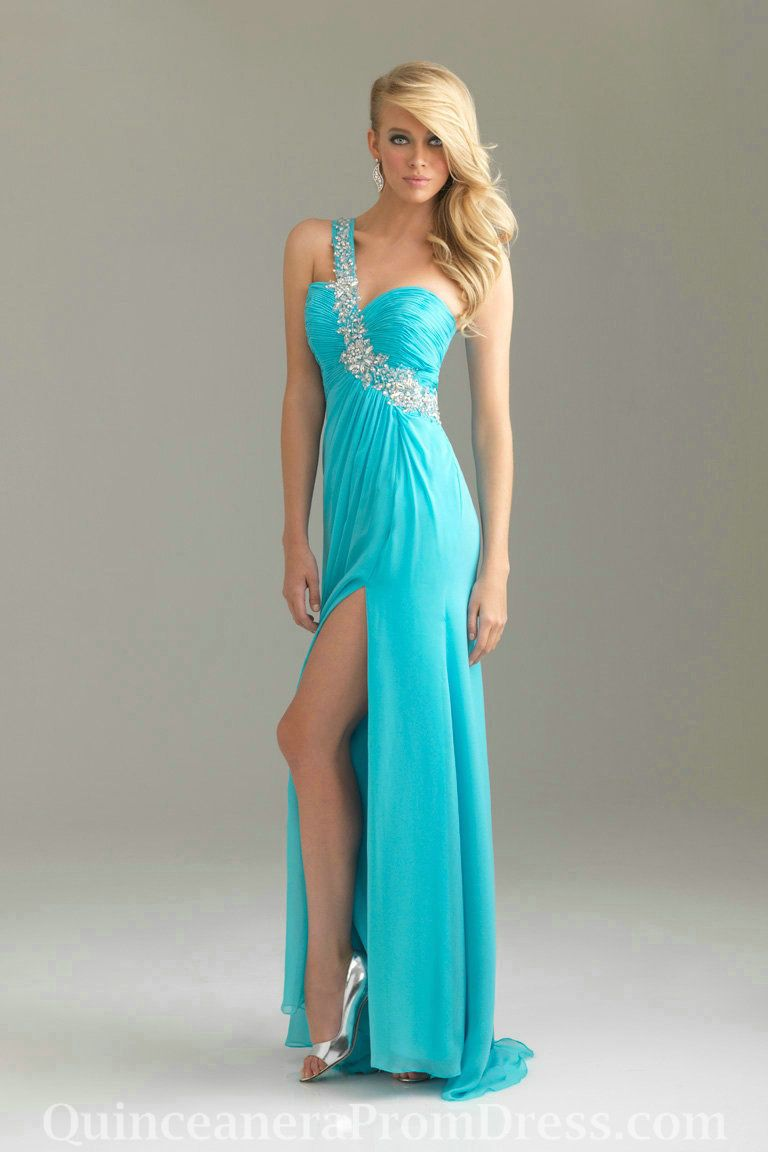 One Shoulder Sweetheart Ruched Beading Crystral Floor Length Empire ...