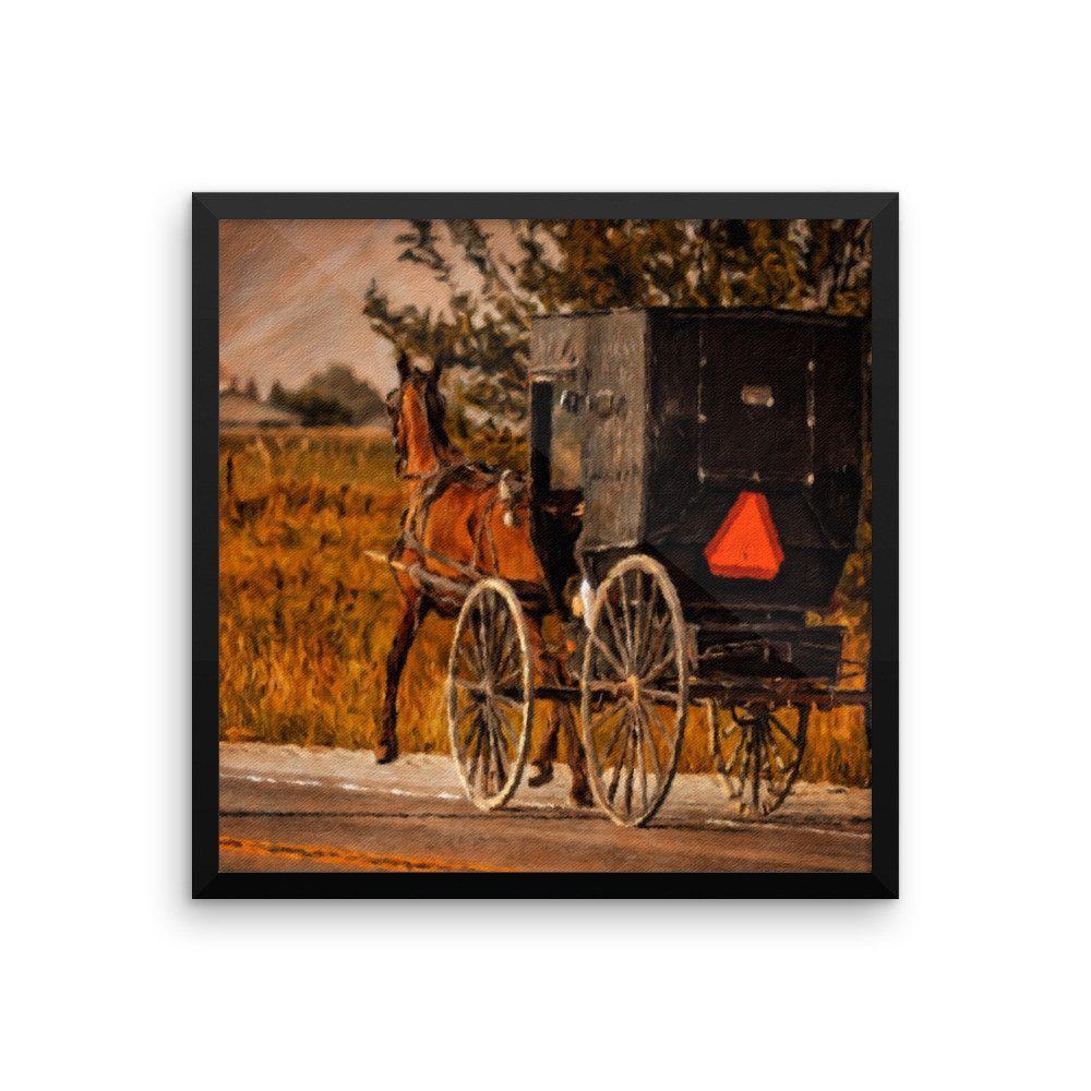 Vintage Amish Horse And Buggy Framed Art