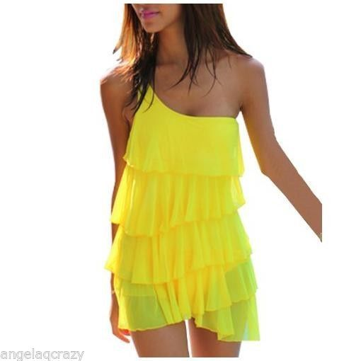 b3b6845f0e NEW NWT M 6 8 Yellow Ruffle Layered One Piece Shoulder Swimdress Swimsuit   Xinxueer  OnePiece