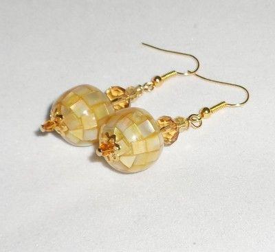 Pretty Gold Glass Crystal Dangle Earrings