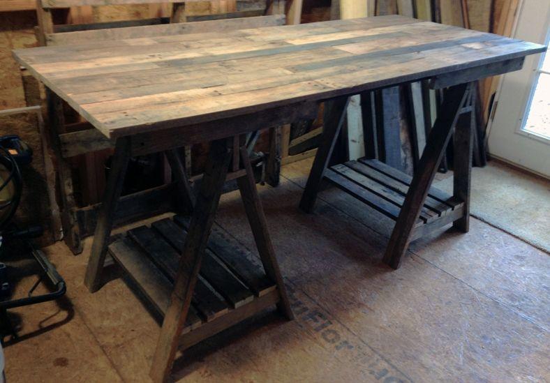 Vintage and rustic looking pallet wood desk. Pallet ideas and pallet furniture By Scrapwork Designs.