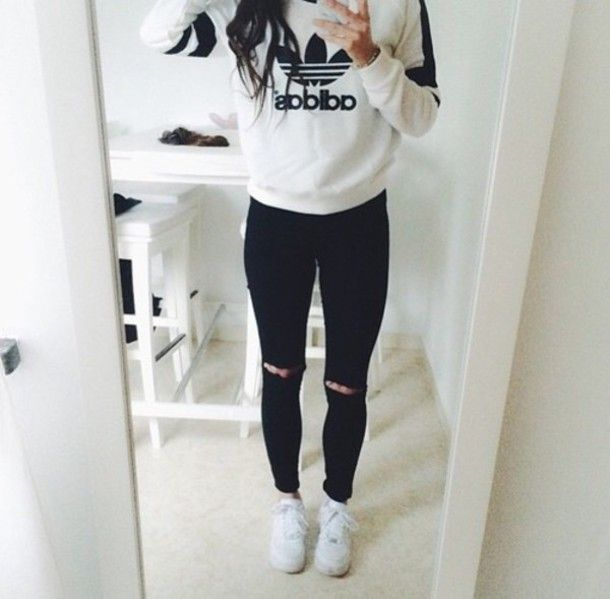 grey, adidas, sweatshirt, black ripped jeans, ripped jeans