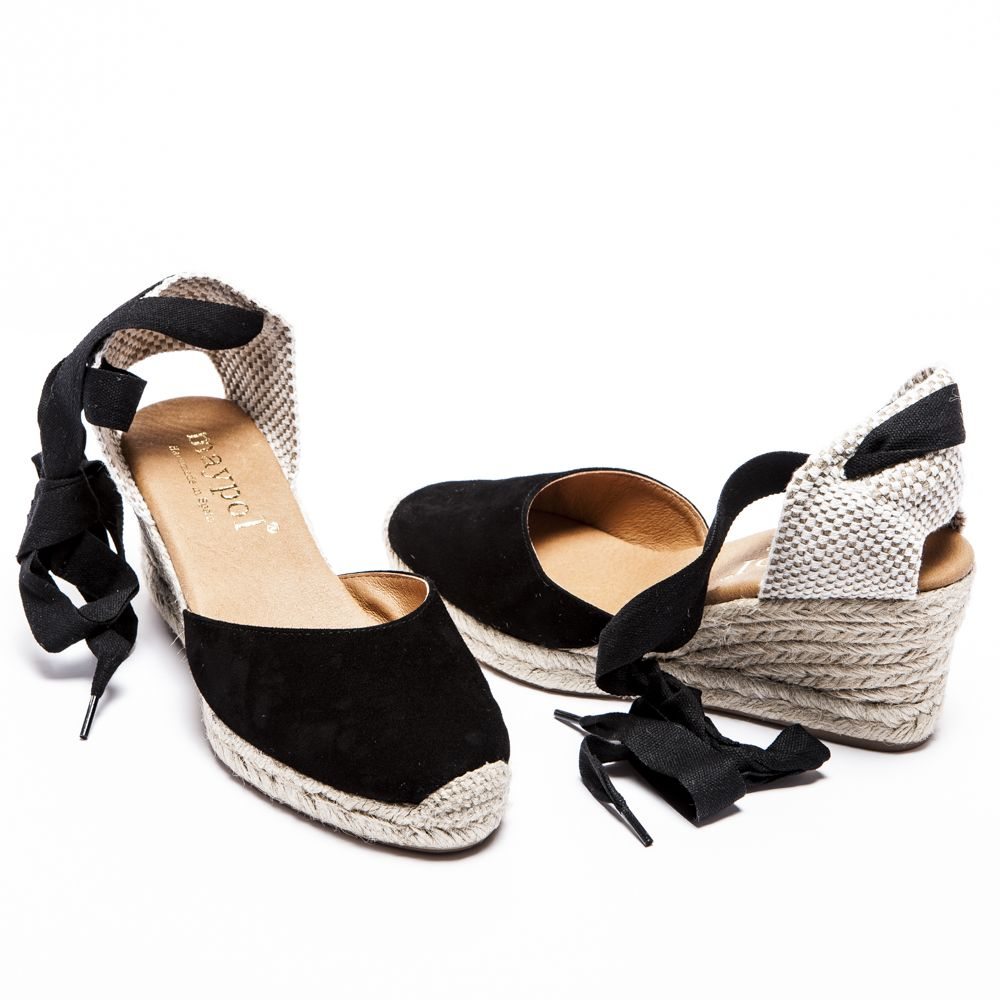 cd4a37148d1 Black Suede Lace Up Espadrilles - Mid Wedge | sandals in 2019 ...