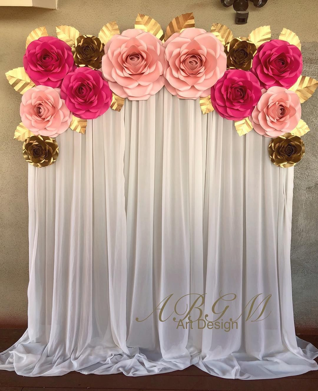 Backdrop With Large Medium And Small Roses In Colors Hot Pink Gold
