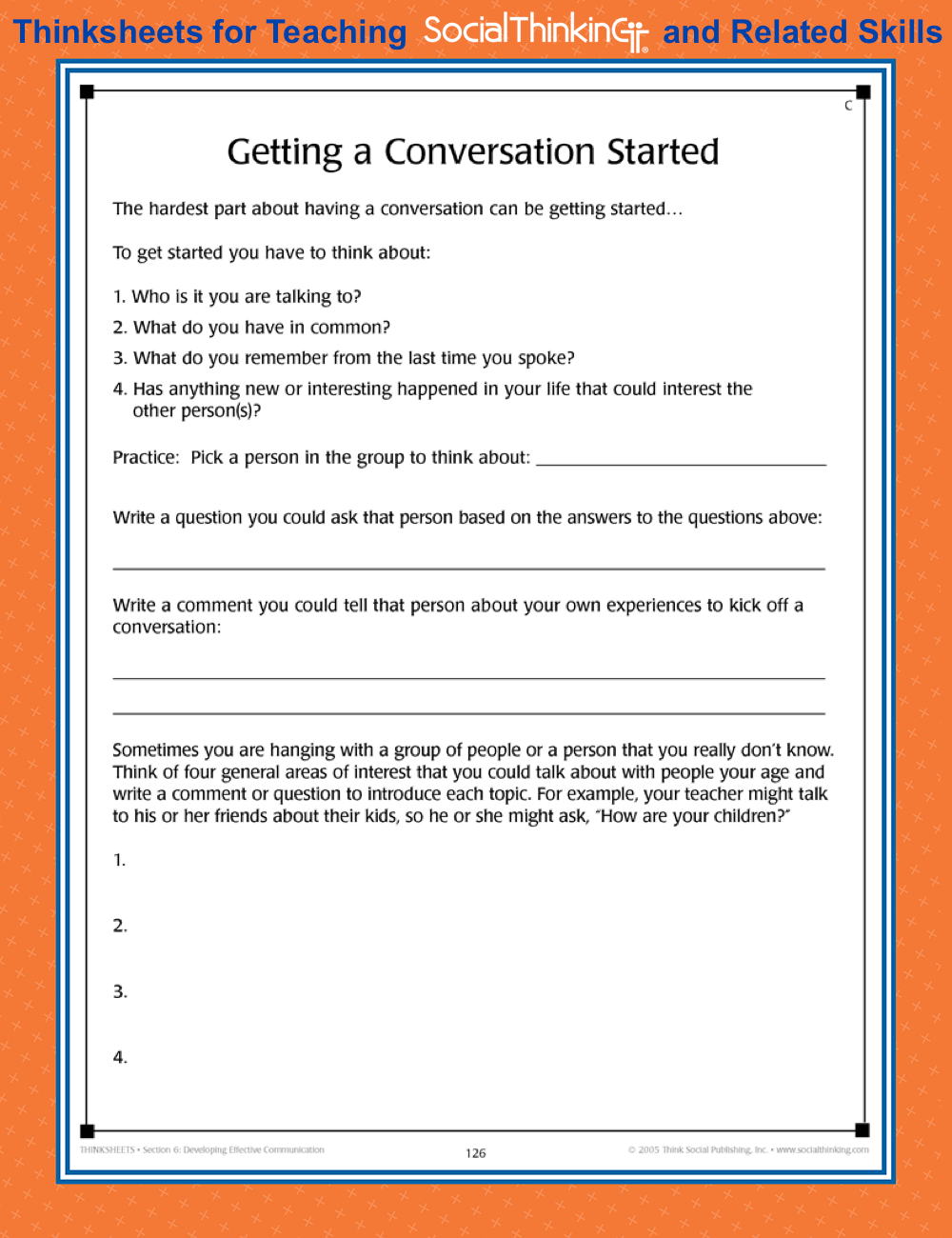 FREE Thinksheet: Getting a Conversation Started. From one of Social ...