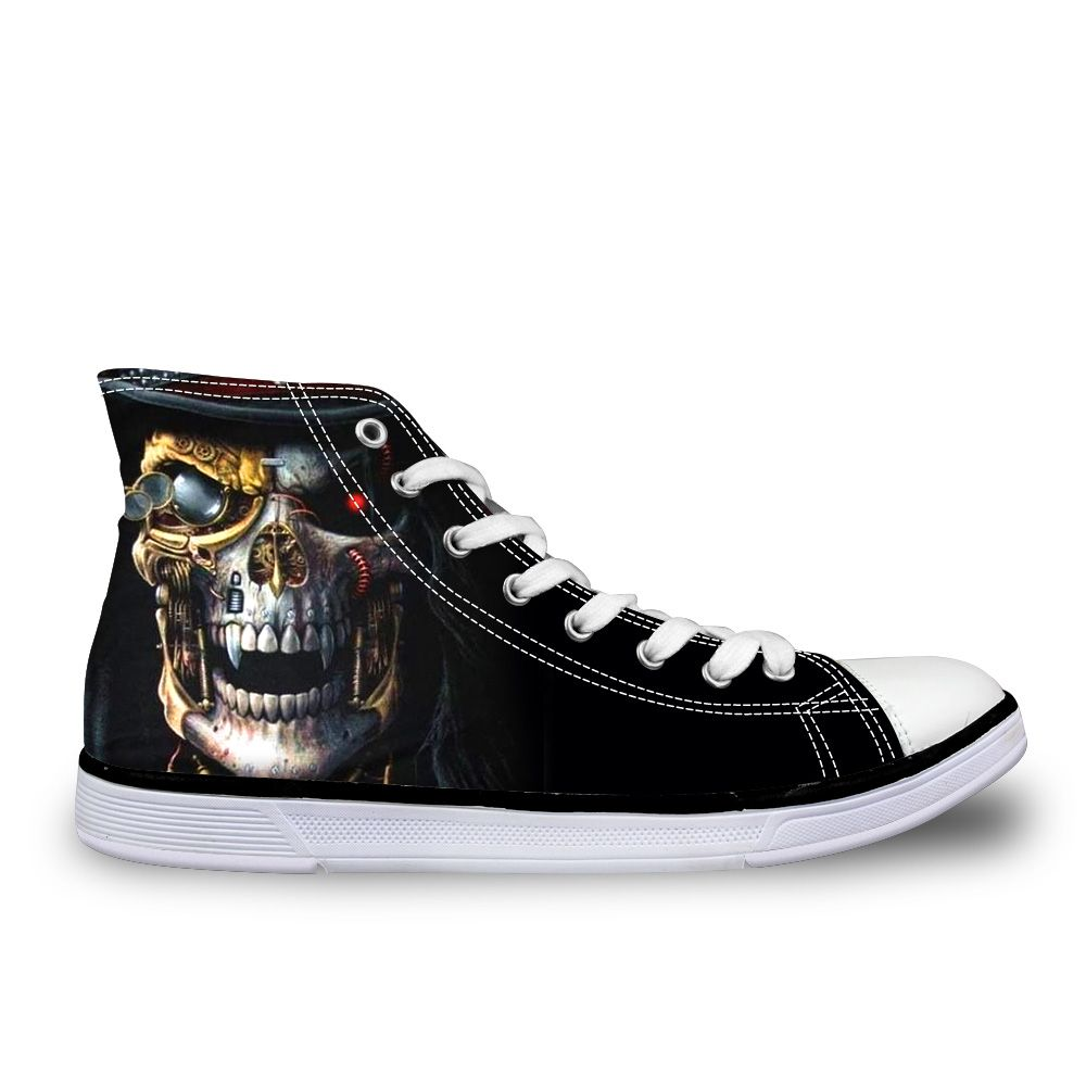 (Buy here: http://appdeal.ru/3f5n ) Men canvas shoes black cool skull chaussure high top casual star men wrapping foot pedal platform zapatillas deportivas shoes for just US $48.99