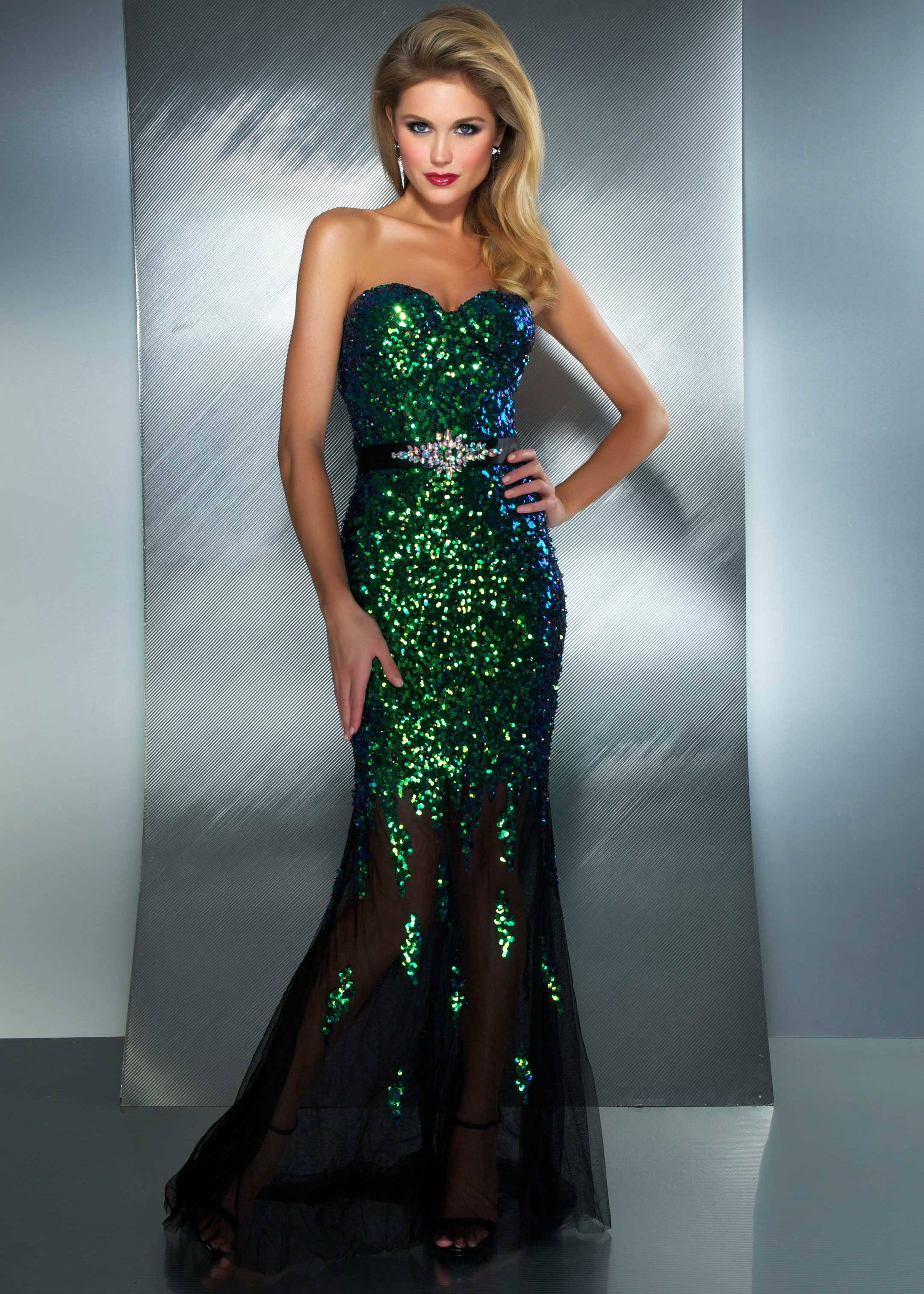 RissyRoosProm Buy now Mac Duggal 85145M peacock strapless sequin ...