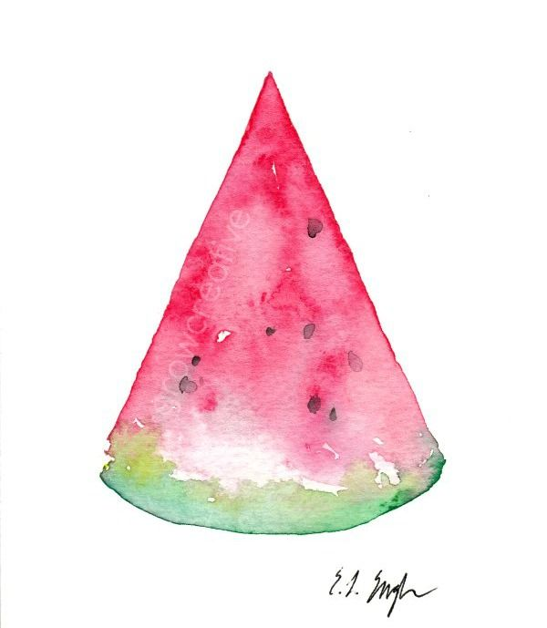 Watermelon Slice Watercolor Painting Growcreative Greeting Cards