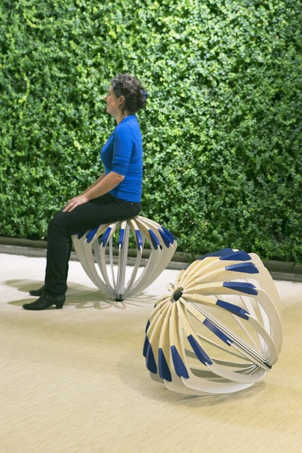 Tumble Seed (2012), stool designed by Carmela Bogman for office workers that need to stay active