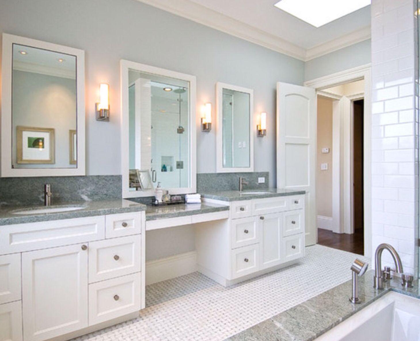 Makeup and cabinets | Master bath vanity, Grey bathrooms ...