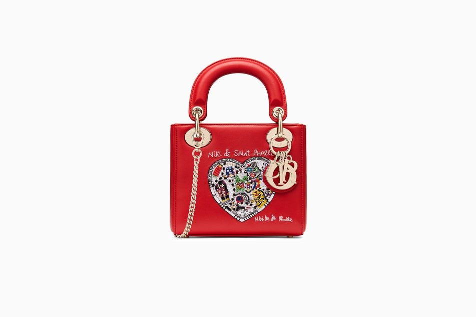 Mini Lady Dior bag with chain in red smooth calfskin with Niki de Saint  Phalle embroidery 2d9992793e