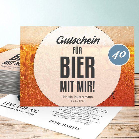 Gutschein Bier 40 Einladung 50 Geburtstag Einladungskarten 50