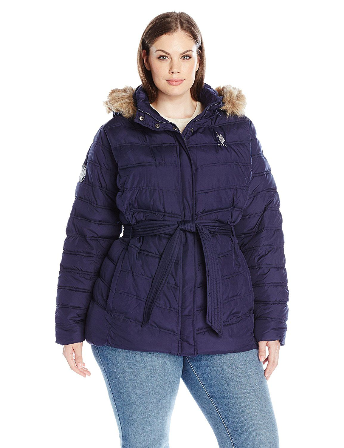 U S Polo Assn Women S Plus Size Belted Puffer Jacket With Faux Fur Hood Trim This Is An Amazon Aff Faux Fur Hood Trim Coats Jackets Women Plus Size Belts [ 1500 x 1154 Pixel ]