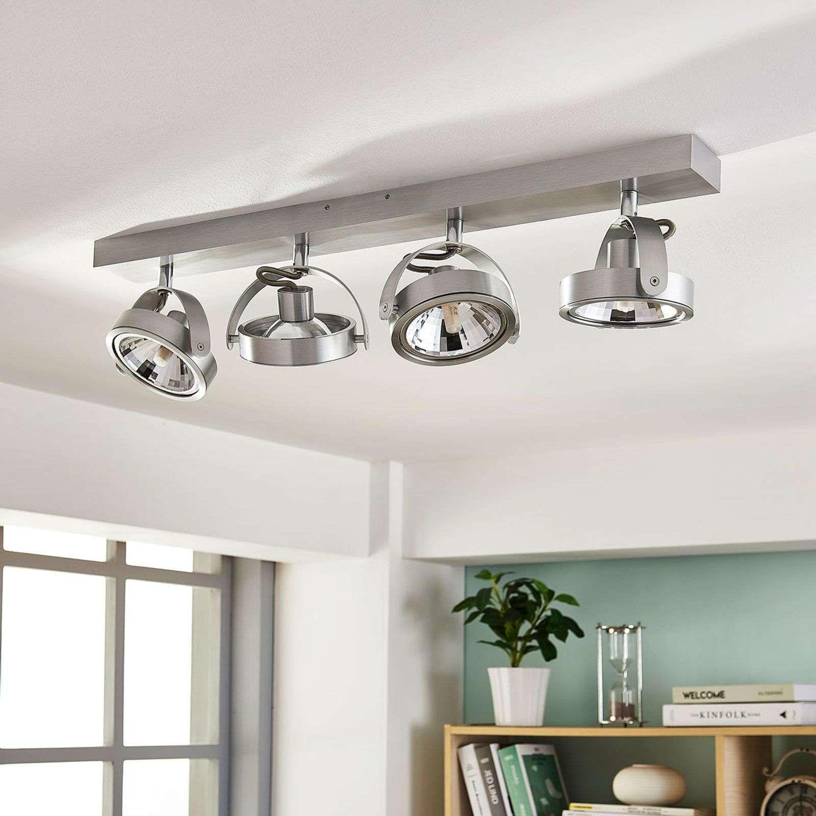 Plafonnier Led A 4 Lampes Lieven Alu En 2020 Plafonnier Led Plafonnier Et Led