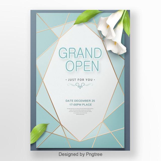 رسالة دعوة موجزة وجديدة باللون الأزرق Poster Design Light Letters Card Templates