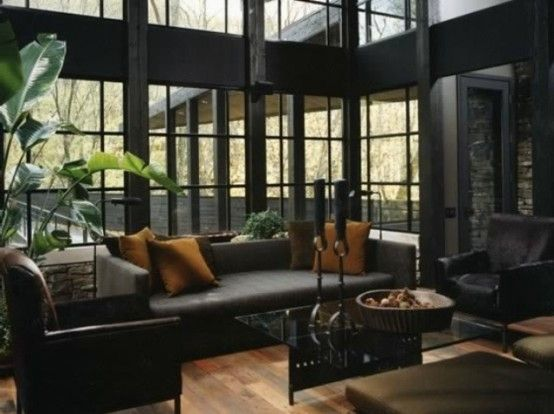 Interior Designed Living Rooms Entrancing High Ceiling Design For Luxury House With Black Decoration And Design Decoration