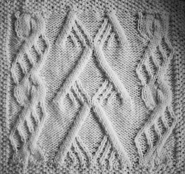 April Aran Afghan Square Woolen Collectibles Pattern By Marin
