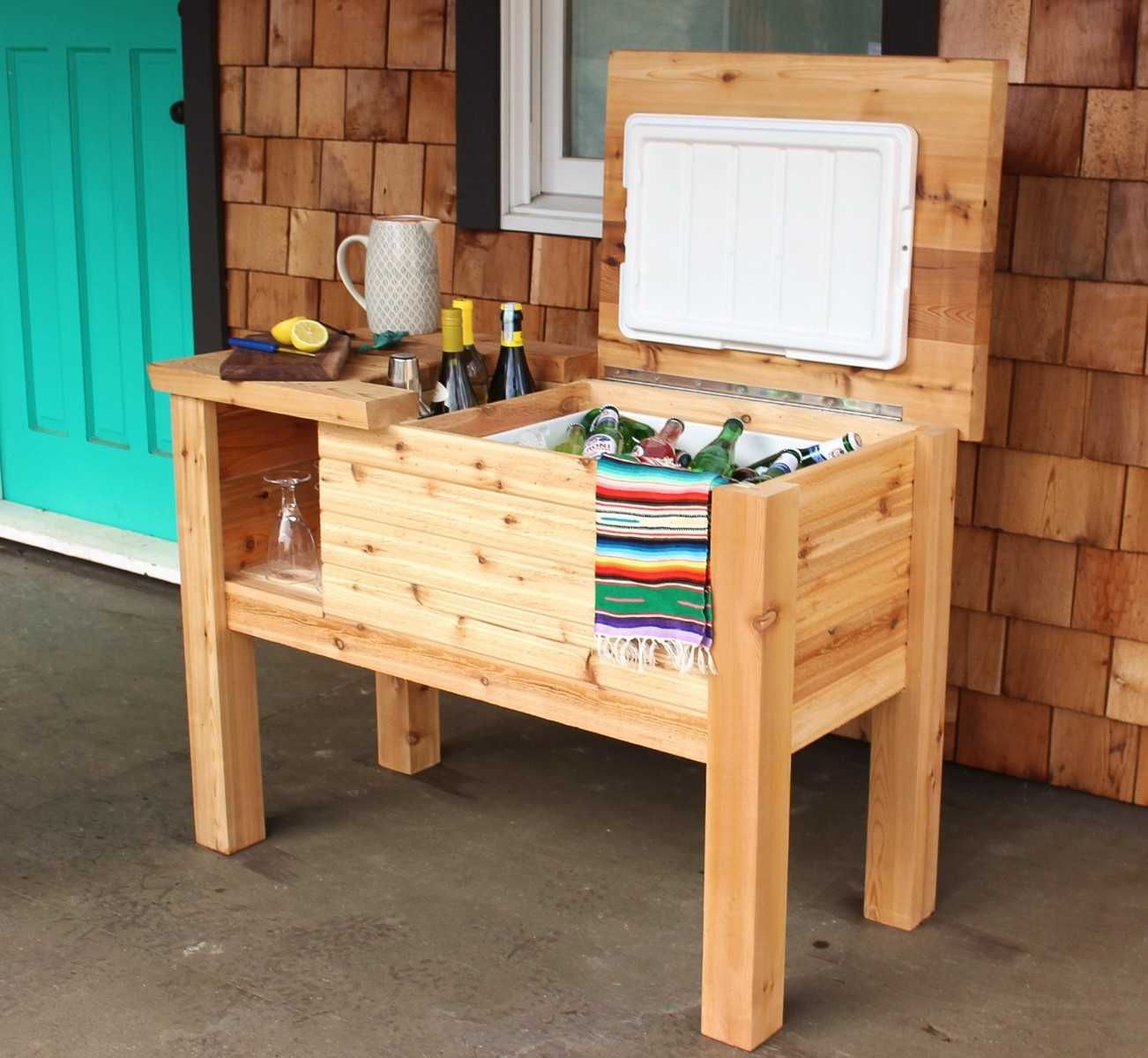 Free Cedar Cooler Storage Project Plans Real Cedar In 2020 Diy Projects Plans Cooler Stand Diy Cooler