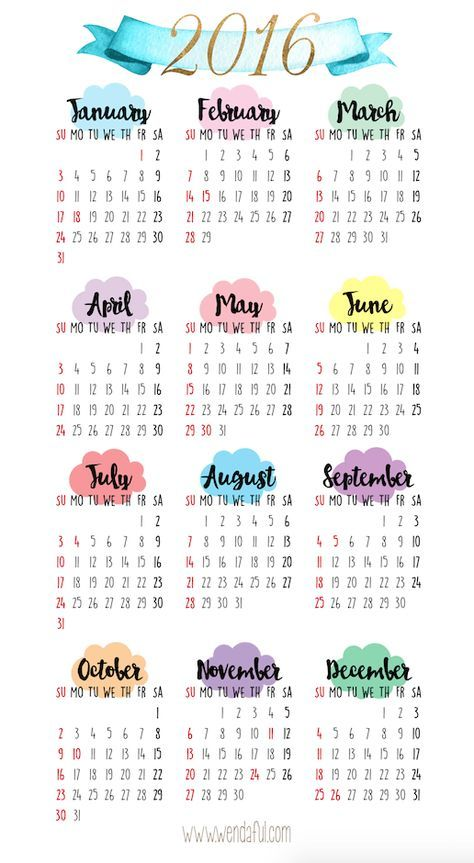 2016 yearly calendar printable planner pinterest 2016 yearly