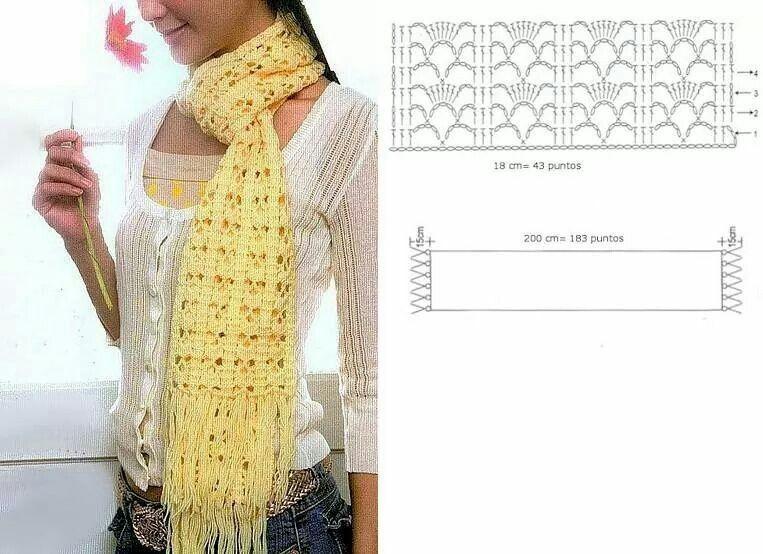 Scarf crochet pattern | Bufandas confortables | Pinterest