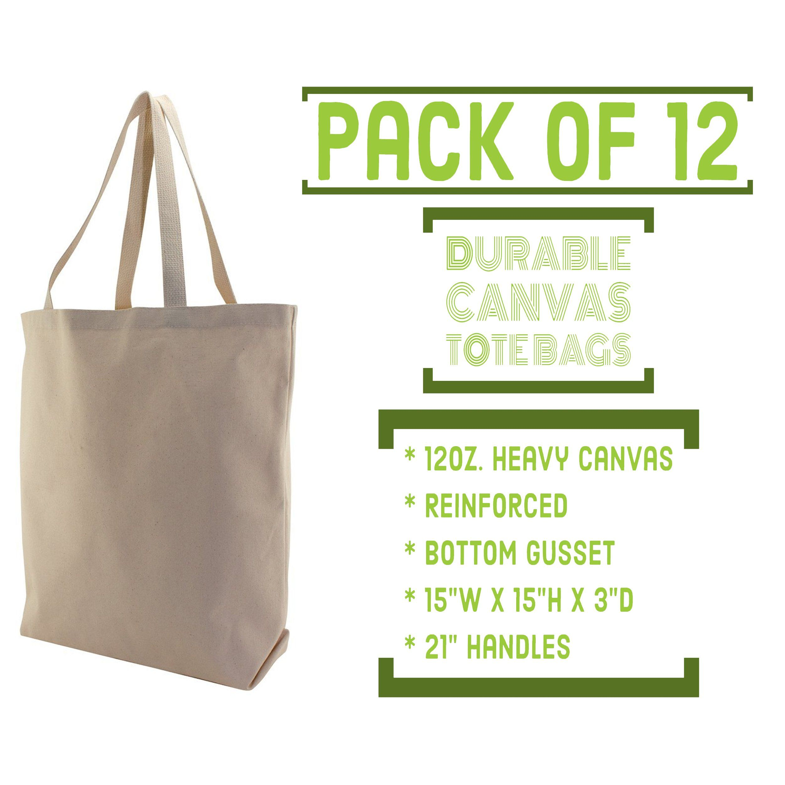 Bagzdepot Reusable Grocery Ping Bags 12 Pack Canvas Heavy Duty Tote Bulk