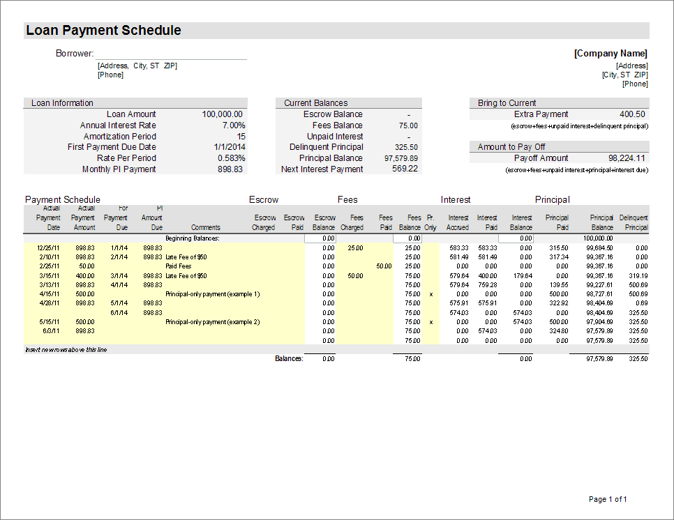 loan servicing spreadsheet