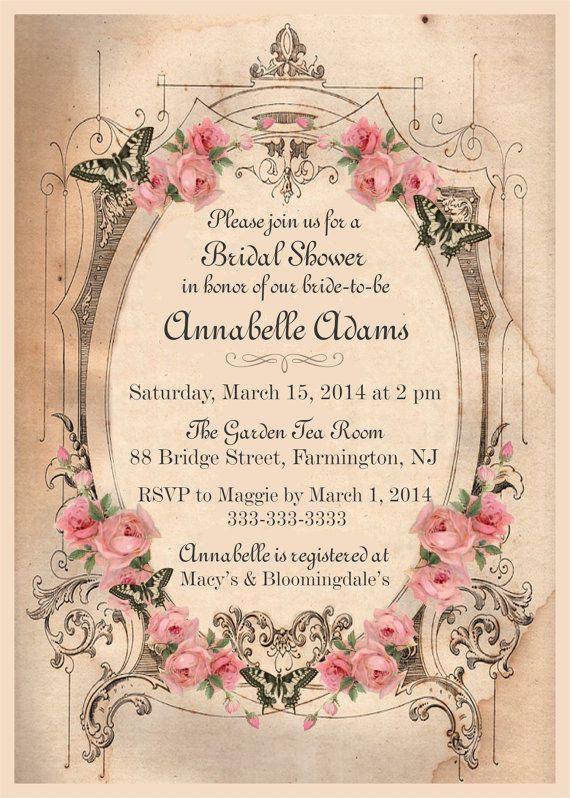 Vintage Shabby Chic Bridal Shower Invitation Pink Blush Roses