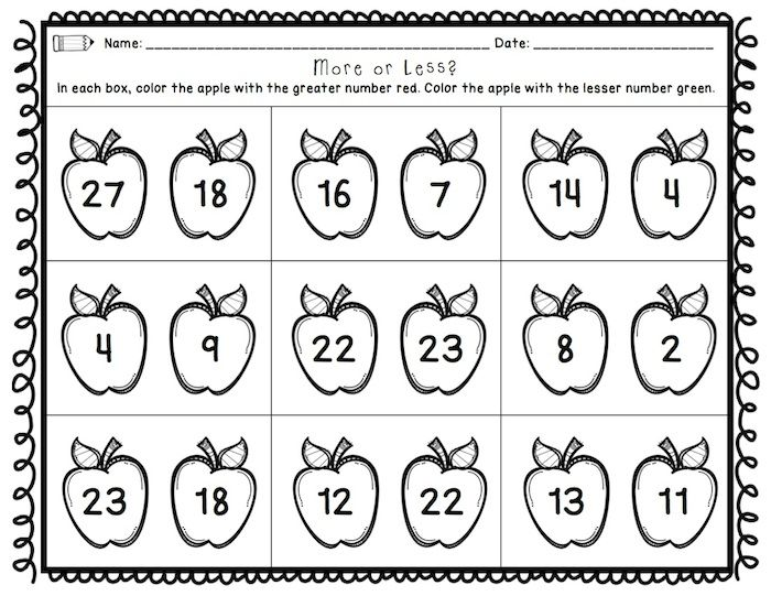 First Grade Back to School Printables Math ELA – Cut and Paste Math Worksheets for First Grade