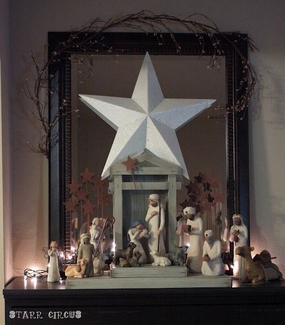 Love The Idea Of The Big Star Above The Nativity Willow Tree Nativity Christmas Decorations Christmas Fun