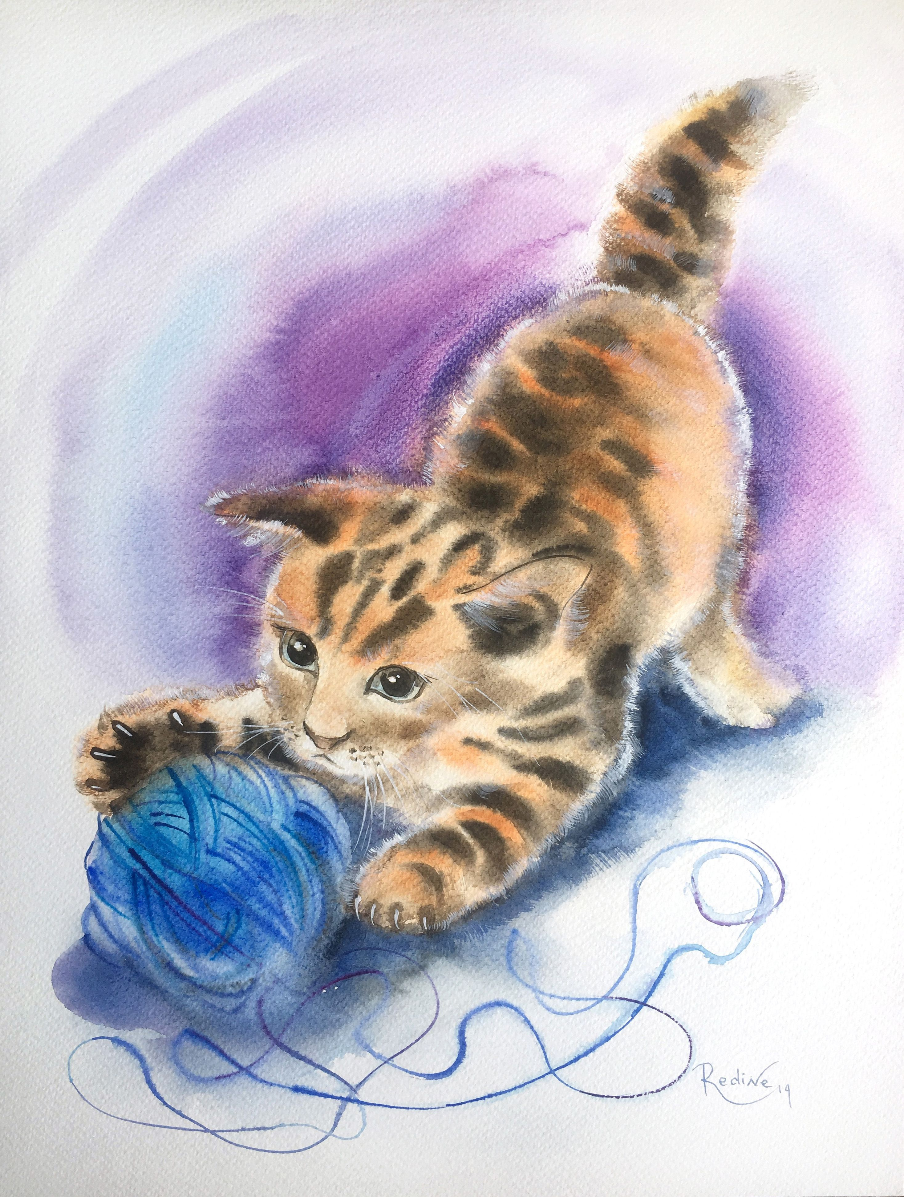 Kitten Playing With A Ball Of Yarn Watercolor Cat Cat Painting Animal Paintings