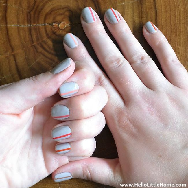 5. Easy striped nail art byHello Little Home. A nice combination of neutral and colored, this mani is the easy way to get into nail art. via @stylelist