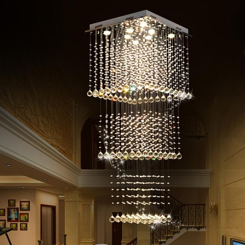 Square Long Crystal Raindrop Chandelier Chandelier Ceiling