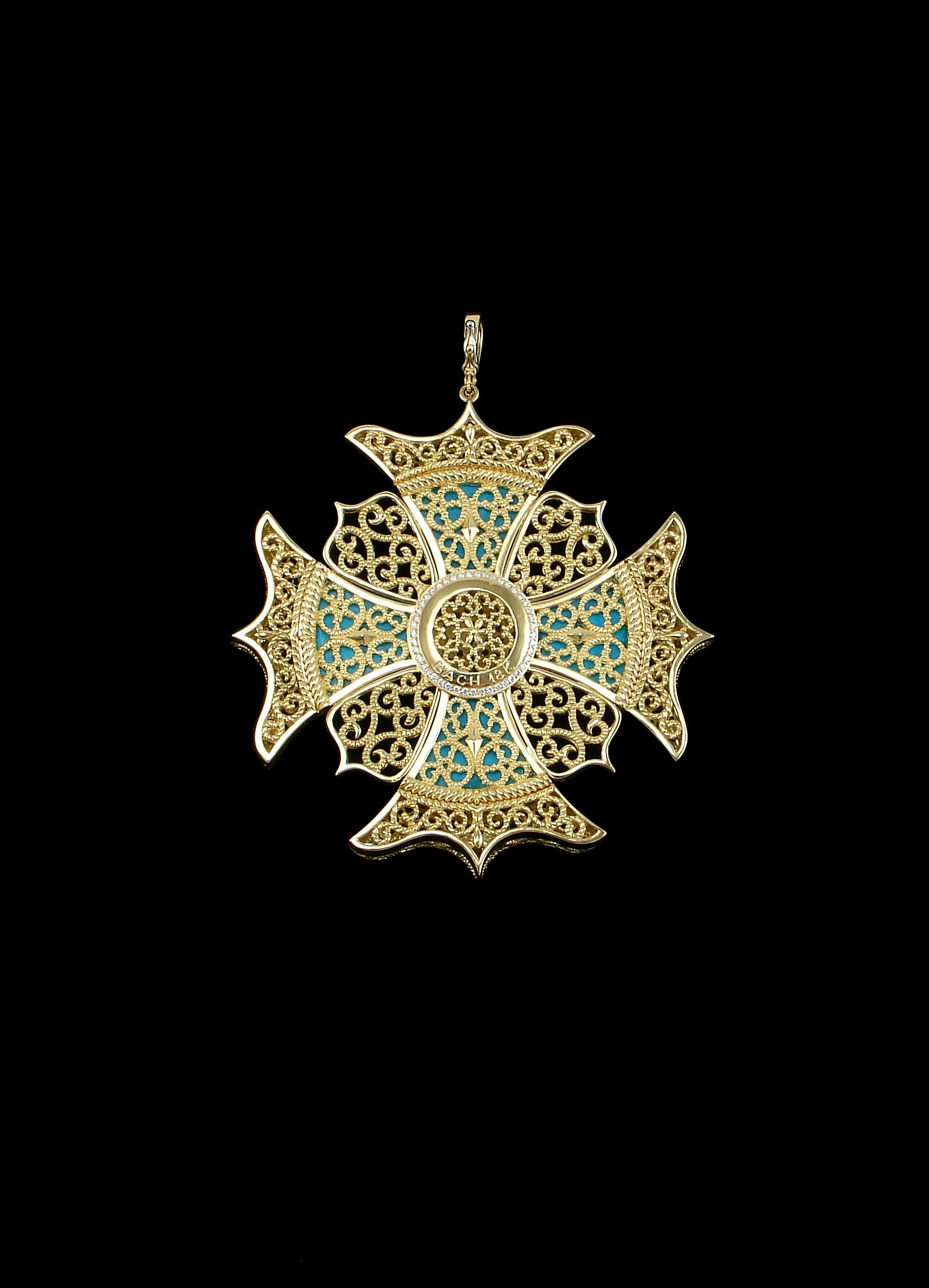 e12b1ba099a Back of  TheTudors inspired Maltese Cross with 18ct. yellow gold ...