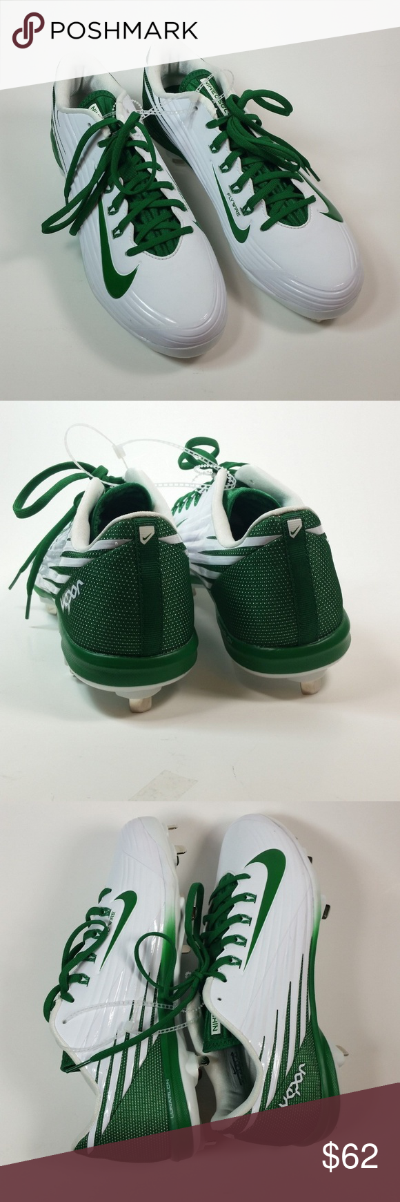 13a5d2feb47b Nike Metal Cleats BSBL Vapor Lunarlon Flywire 10.5 Nike Metal Cleats BSBL  Vapor Lunarlon Flywire 10.5 New, No Tags, No Box Men's Size 10.5 White, Green  Nike ...