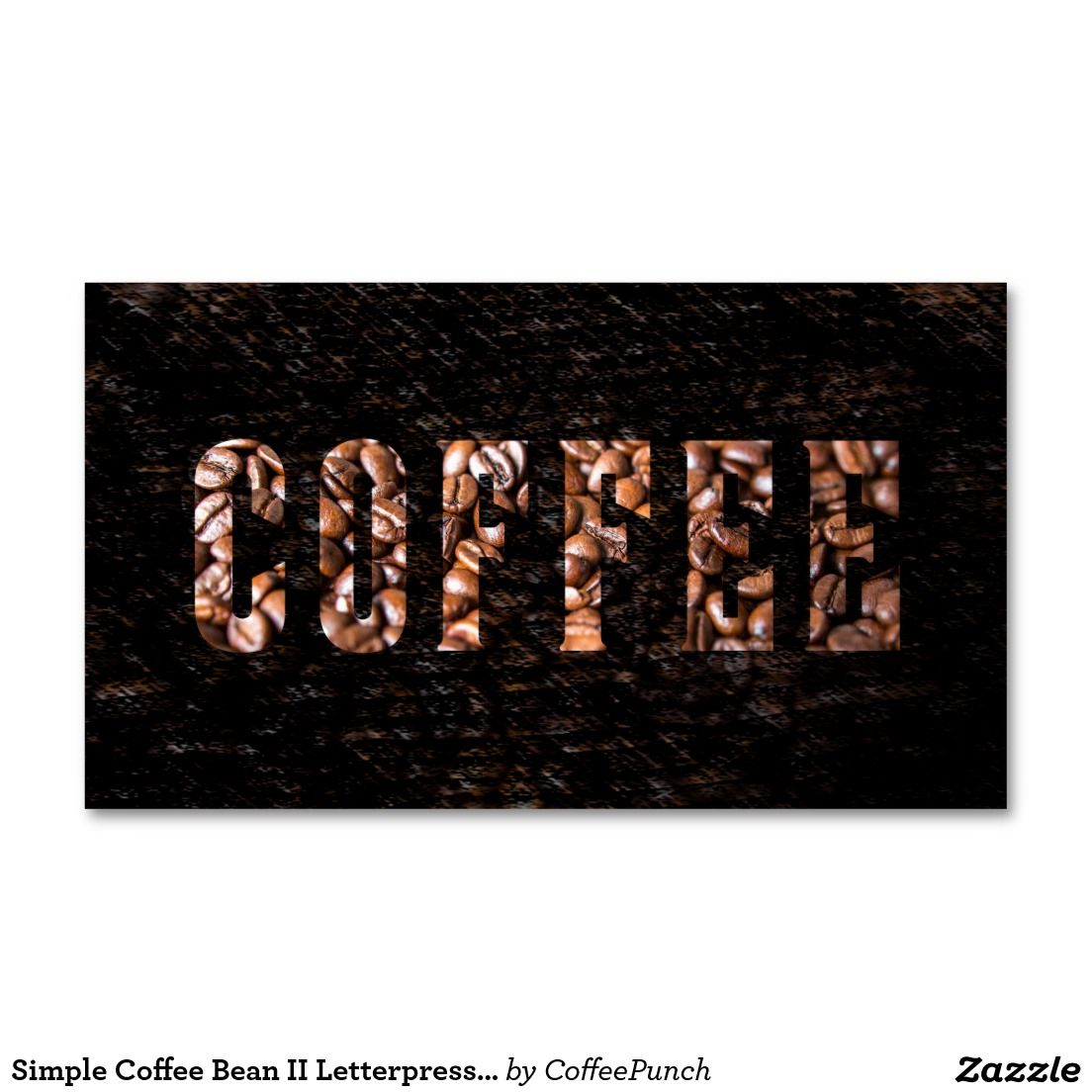 Simple Coffee Bean II Letterpress Punch-Card Business Card | Loyal ...