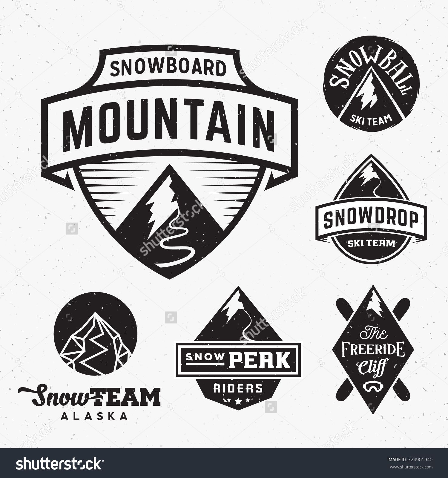 Set Of Ski Snowboard Snow Mountains Sport Logos Or Vintage Labels With Shabby Snowboard Skiing Sports Logo