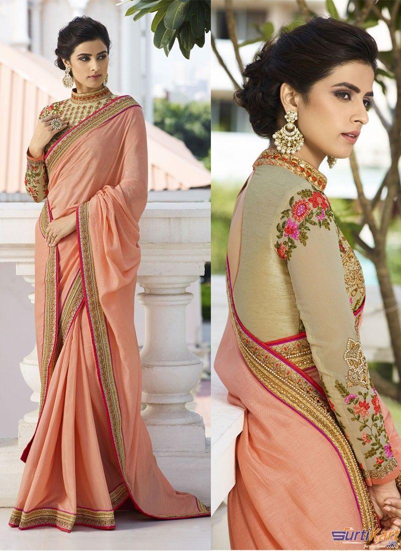 1b3170e8aebe3 Peach Colour Silk Resham Embroidery Lace Saree With Designer Heavy Zari    Stone Work Blouse by Vritika
